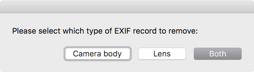 Remove from EXIF – removal of lens and camera info from an image file