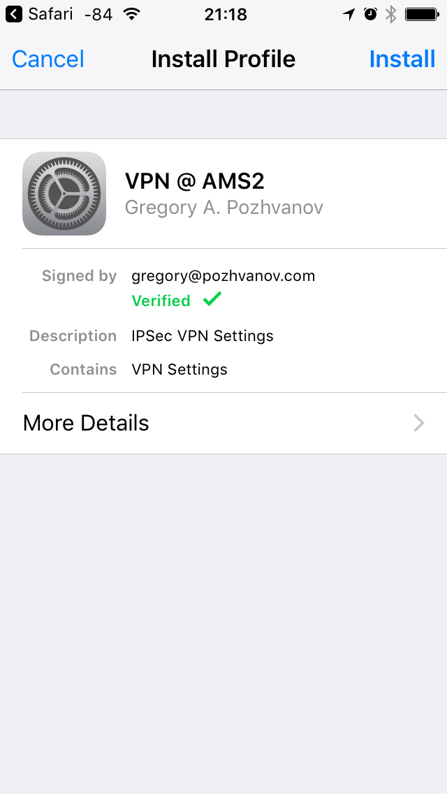 Signed configuration profile is being installed on iPhone