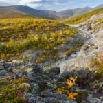 Вид на склоны Юмечорра, Хибинпахкчорра и приток ручья Меридионального