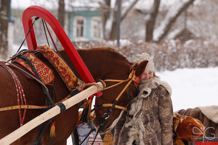 Сани, запряжённые лошадьми в выходной день, Суздальский кремль