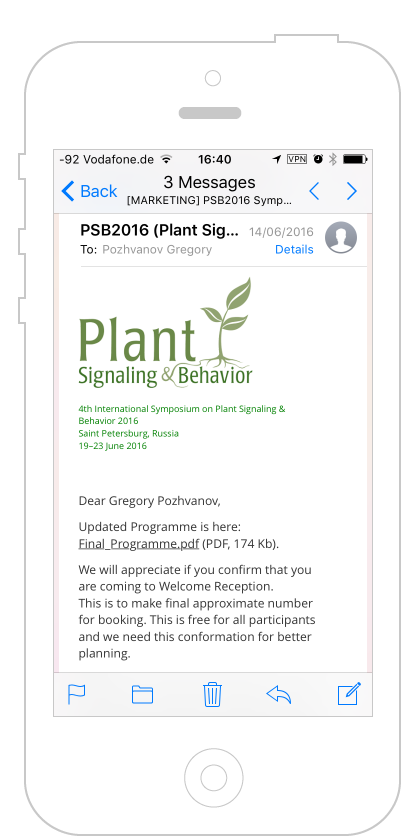 PSB2016 mail on iPhone
