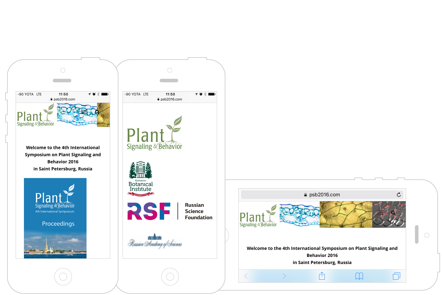 PSB2016 Symposium website on iPhone
